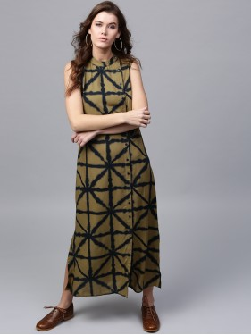 Olive Printed Sleeveless Straight Button Down Dress
