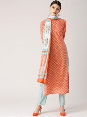 Orange And Green Kurta With Pants And Dupatta