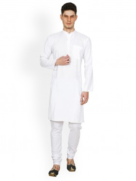 White Solid Kurta With Pants