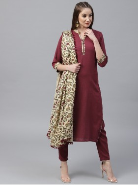 Maroon Solid Kurta With Palazzo And Floral Dupatta